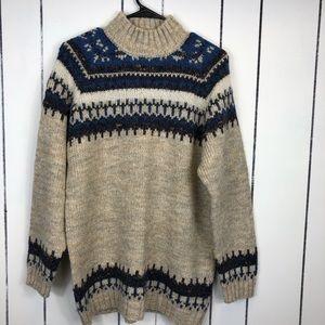 Vintage Oversized Cozy Mock Neck Sweater Sz M